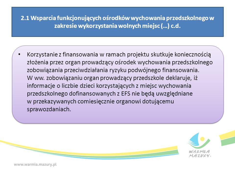 2.1 Wsparcia funkcjonujących ośrodków wychowania przedszkolnego w zakresie wykorzystania wolnych miejsc (…) c.d. Korzystanie z finansowania w ramach p