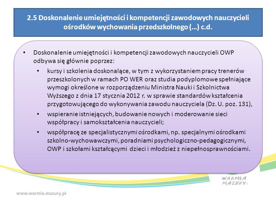 2.5 Doskonalenie umiejętności i kompetencji zawodowych nauczycieli ośrodków wychowania przedszkolnego (…) c.d.