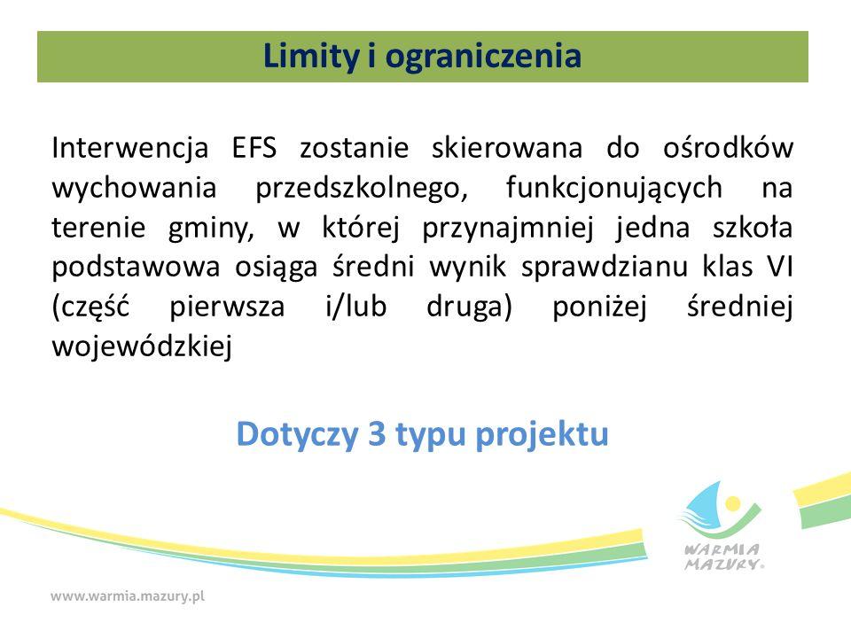 Limity i ograniczenia Interwencja EFS zostanie skierowana do ośrodków wychowania przedszkolnego, funkcjonujących na terenie gminy, w której przynajmniej jedna szkoła podstawowa osiąga średni wynik sprawdzianu klas VI (część pierwsza i/lub druga) poniżej średniej wojewódzkiej Dotyczy 3 typu projektu