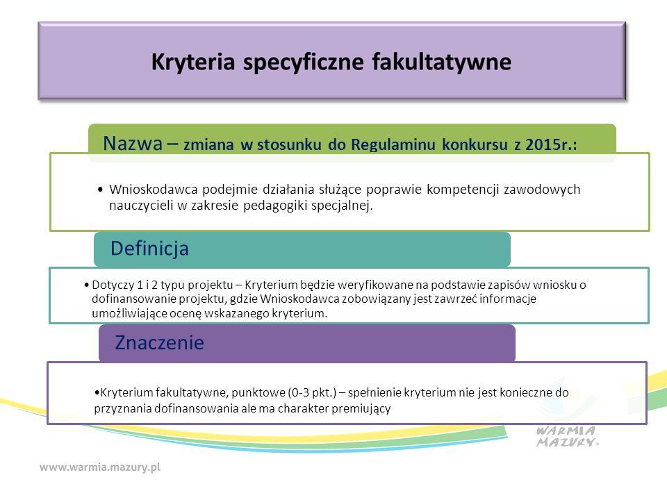 Nazwa – zmiana w stosunku do Regulaminu konkursu z 2015r.: Definicja Znaczenie Wnioskodawca podejmie działania służące poprawie kompetencji zawodowych nauczycieli w zakresie pedagogiki specjalnej.