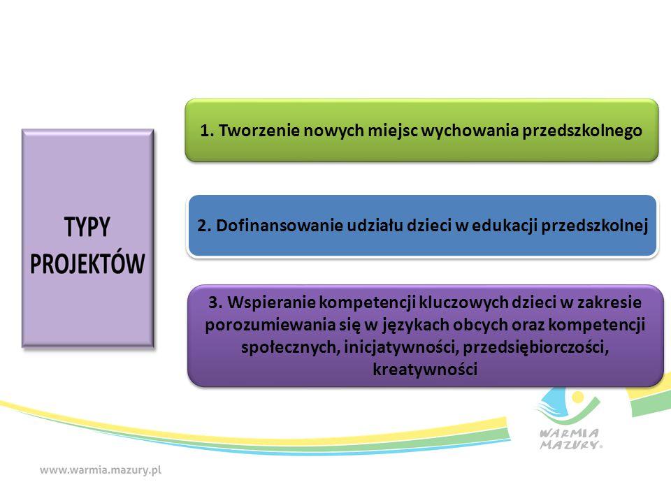 1. Tworzenie nowych miejsc wychowania przedszkolnego 2. Dofinansowanie udziału dzieci w edukacji przedszkolnej 3. Wspieranie kompetencji kluczowych dz