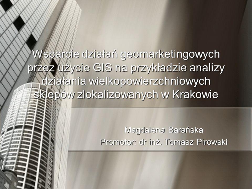 Cel pracy: Wspomaganie decyzji geomarketingowych za pomocą GIS: –wskazanie obszarów dominacji, –określenie udziału na rynku poszczególnych marketów zlokalizowanych w Krakowie (udział procentowy i ilościowy), –wykrycie głównych kierunków napływu klientów, –symulacja zmian w ogólnym układzie przy pojawieniu się nowego punktu (i działania dla nowego obiektu jak wyżej).