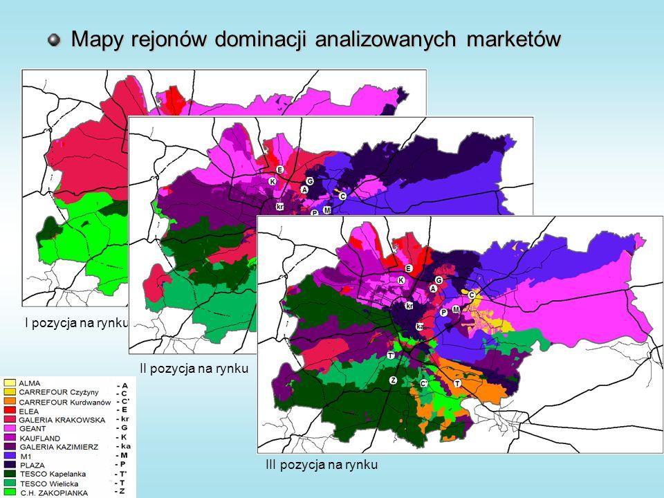 Mapy rejonów dominacji analizowanych marketów I pozycja na rynku II pozycja na rynku III pozycja na rynku