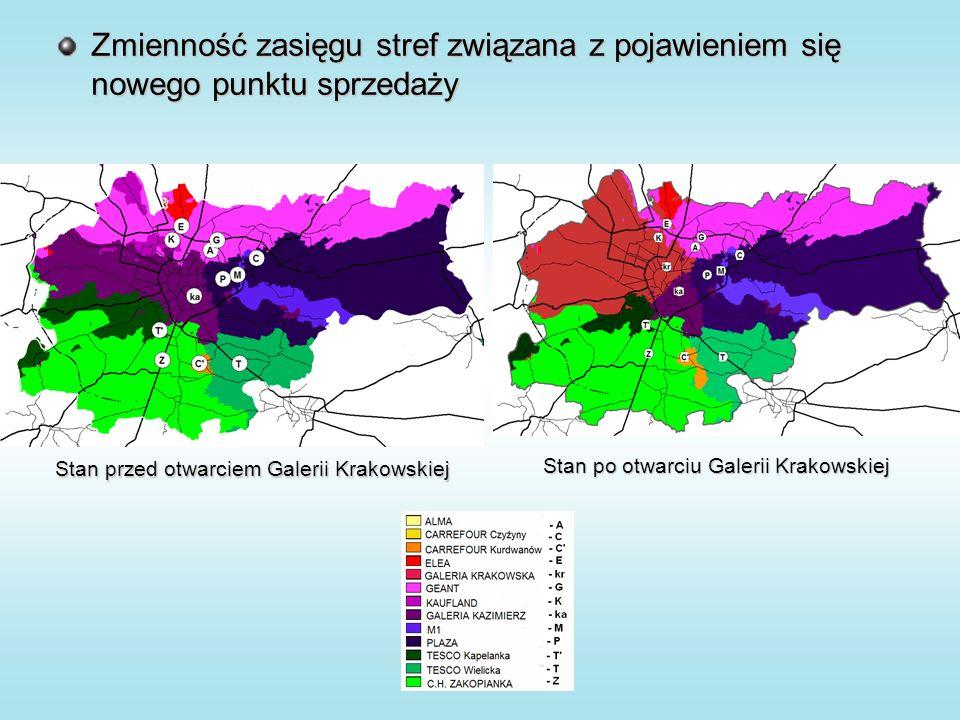Zmienność zasięgu stref związana z pojawieniem się nowego punktu sprzedaży Stan przed otwarciem Galerii Krakowskiej Stan po otwarciu Galerii Krakowskiej