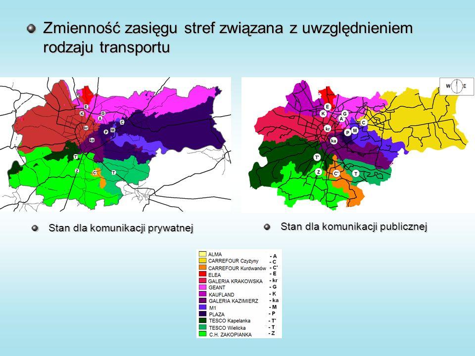 Zmienność zasięgu stref związana z uwzględnieniem rodzaju transportu Stan dla komunikacji publicznej Stan dla komunikacji prywatnej