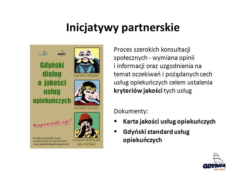 Inicjatywy partnerskie Proces szerokich konsultacji społecznych - wymiana opinii i informacji oraz uzgodnienia na temat oczekiwań i pożądanych cech usług opiekuńczych celem ustalenia kryteriów jakości tych usług Dokumenty:  Karta jakości usług opiekuńczych  Gdyński standard usług opiekuńczych