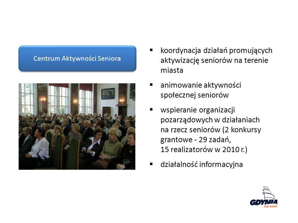 Centrum Aktywności Seniora  koordynacja działań promujących aktywizację seniorów na terenie miasta  animowanie aktywności społecznej seniorów  wspieranie organizacji pozarządowych w działaniach na rzecz seniorów (2 konkursy grantowe - 29 zadań, 15 realizatorów w 2010 r.)  działalność informacyjna