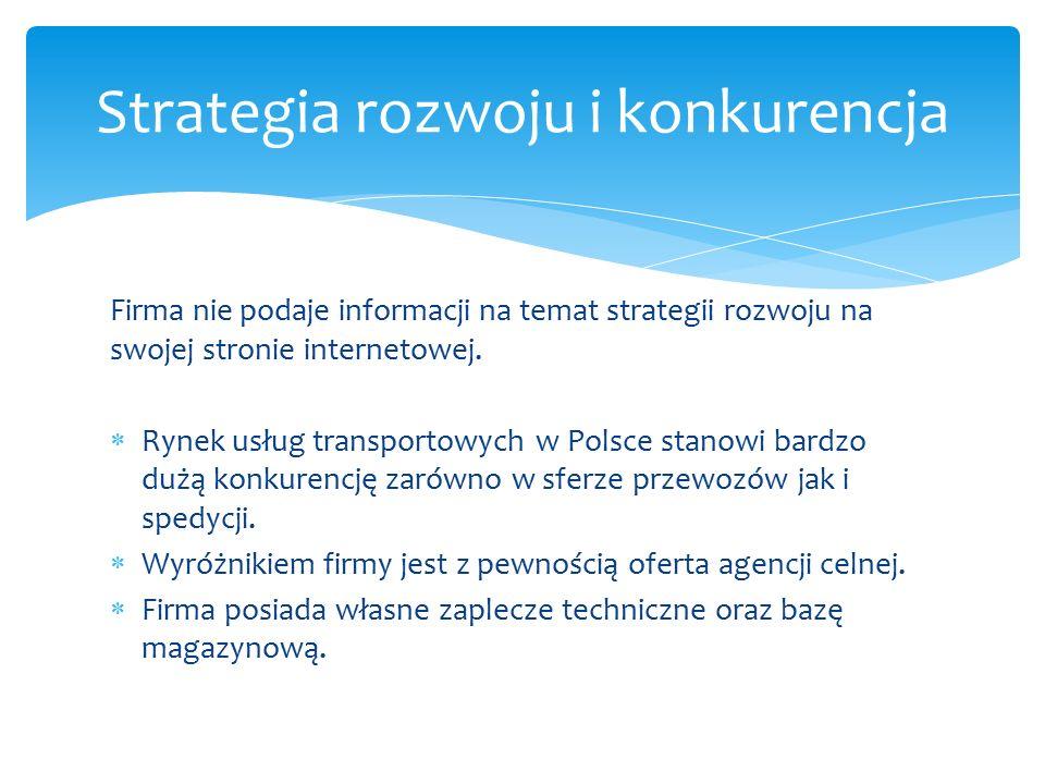 Firma nie podaje informacji na temat strategii rozwoju na swojej stronie internetowej.