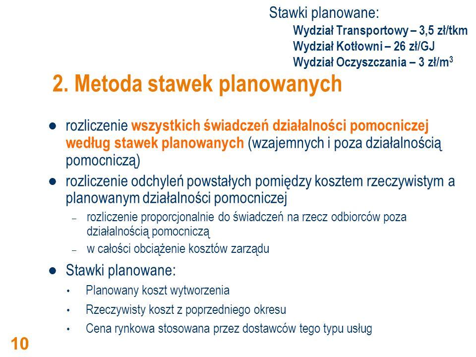 2. Metoda stawek planowanych rozliczenie wszystkich świadczeń działalności pomocniczej według stawek planowanych (wzajemnych i poza działalnością pomo