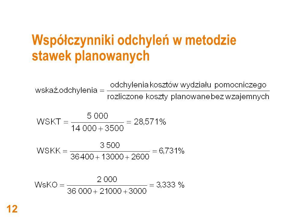 Współczynniki odchyleń w metodzie stawek planowanych 12