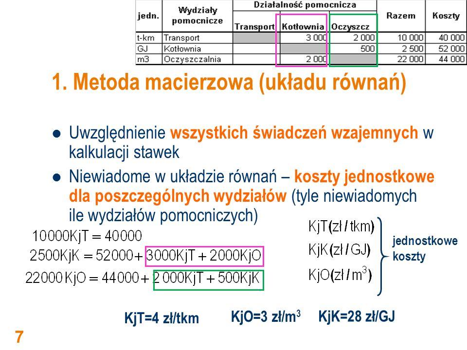 Metoda macierzowa rozliczenie wzajemnych świadczeń Rozliczenie kosztów wzajemnych rozliczeń pomiędzy wydziałami pomocniczymi dla kosztów jednostkowych wyznaczonych na podstawie układu równań Transport: 40 000 – 20 000 = 20 000 Kotłownia: 52 000 + 12 000 - 14 000 + 6 000 = 56 000 Oczyszczalnia: 44 000 + 8 000 +14 000 – 6 000 = 60 000 8