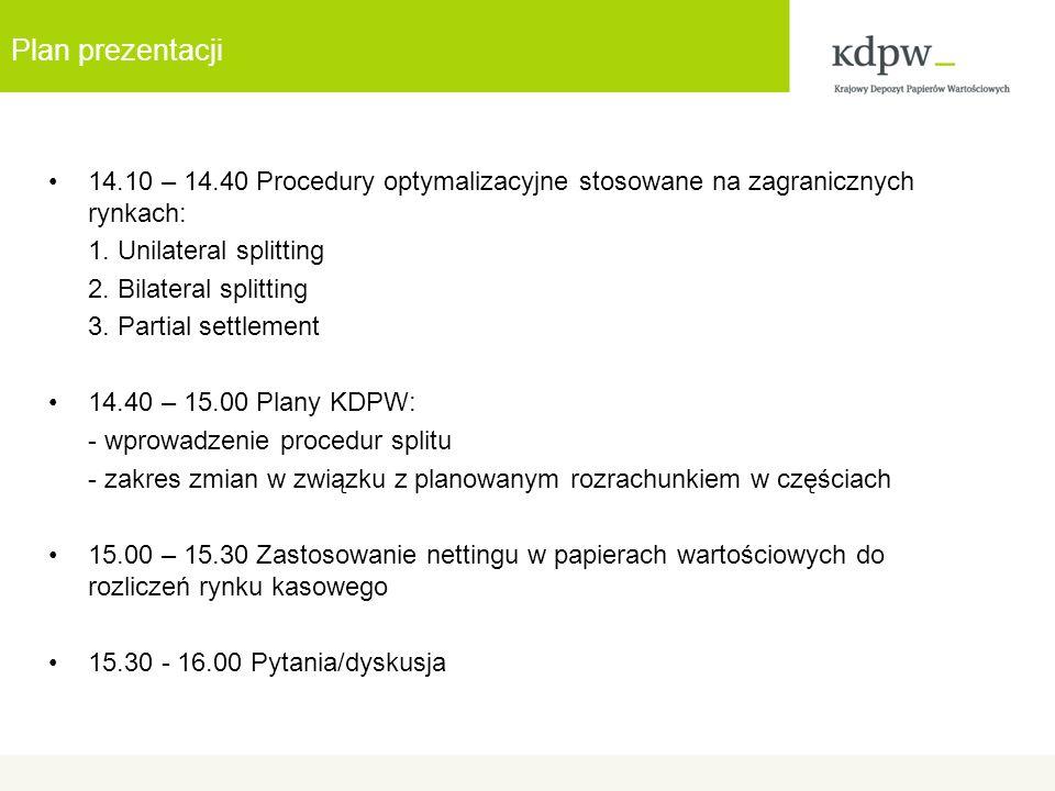 Plan prezentacji 14.10 – 14.40 Procedury optymalizacyjne stosowane na zagranicznych rynkach: 1.