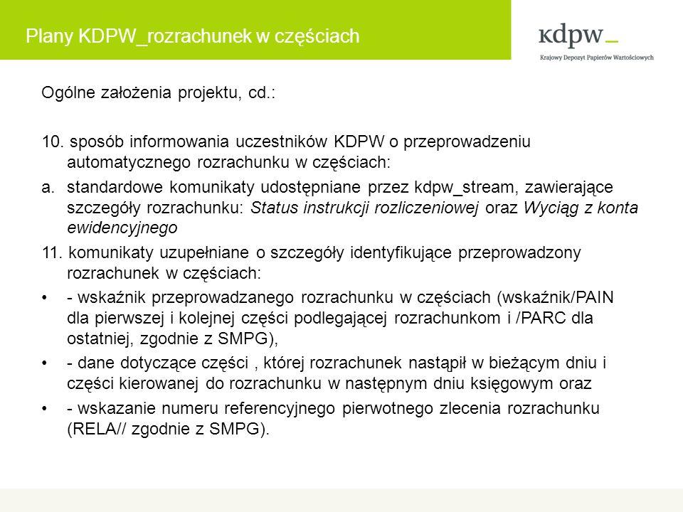 Plany KDPW_rozrachunek w częściach Ogólne założenia projektu, cd.: 10.