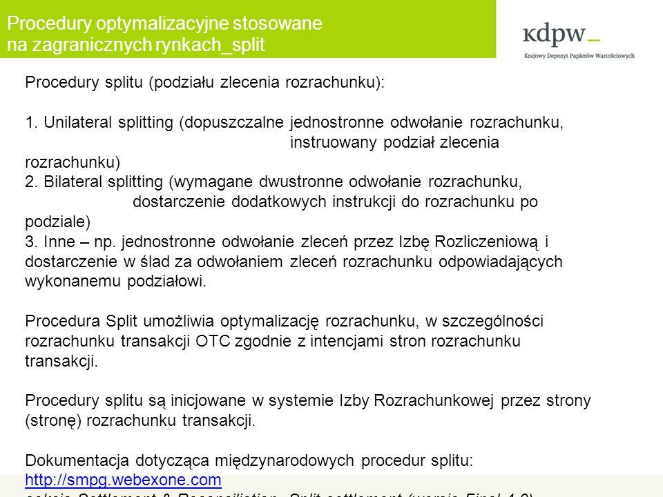 Procedury optymalizacyjne stosowane na zagranicznych rynkach_split Procedury splitu (podziału zlecenia rozrachunku): 1.
