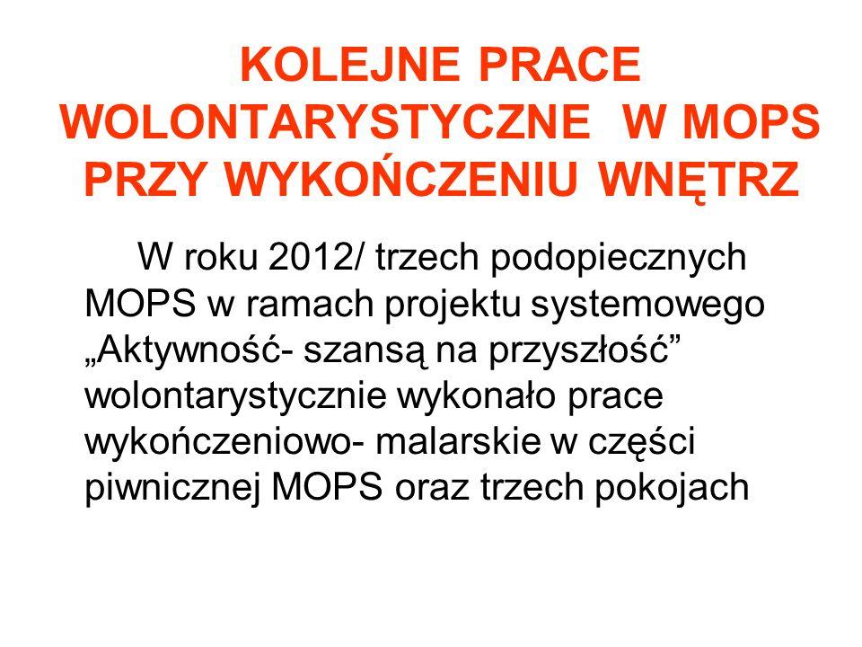"""KOLEJNE PRACE WOLONTARYSTYCZNE W MOPS PRZY WYKOŃCZENIU WNĘTRZ W roku 2012/ trzech podopiecznych MOPS w ramach projektu systemowego """"Aktywność- szansą"""