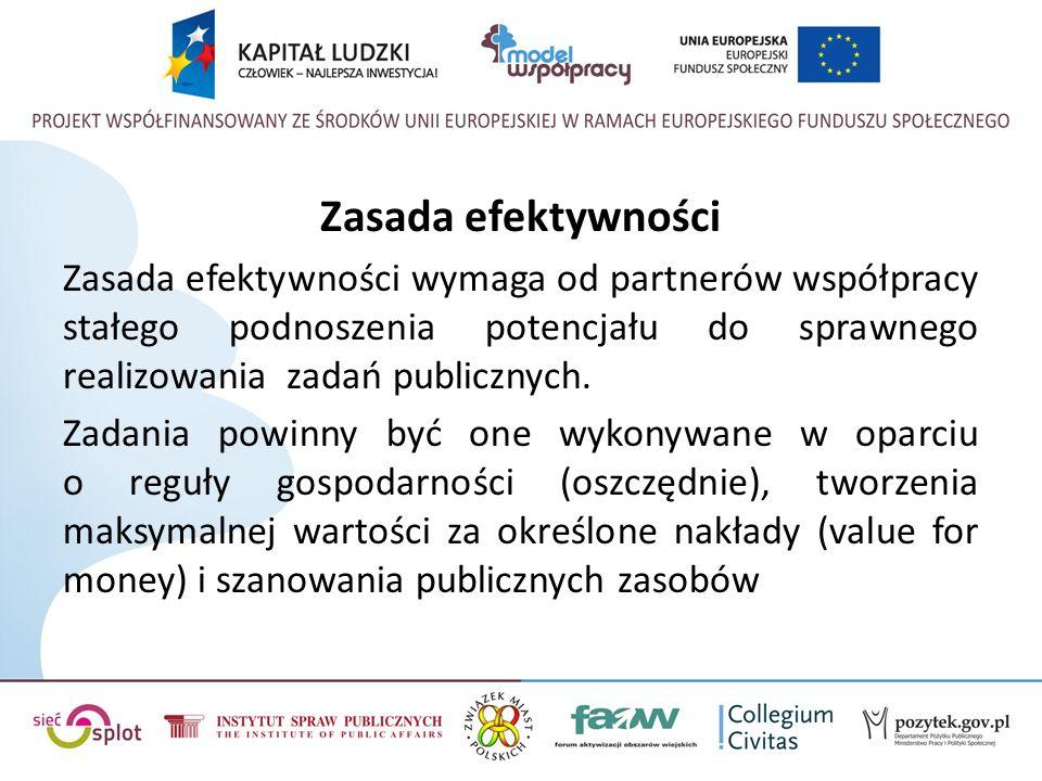 Zasada efektywności Zasada efektywności wymaga od partnerów współpracy stałego podnoszenia potencjału do sprawnego realizowania zadań publicznych.