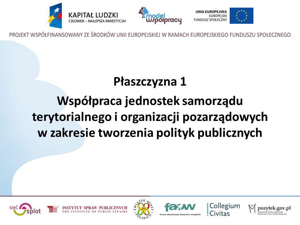 Płaszczyzna 1 Współpraca jednostek samorządu terytorialnego i organizacji pozarządowych w zakresie tworzenia polityk publicznych