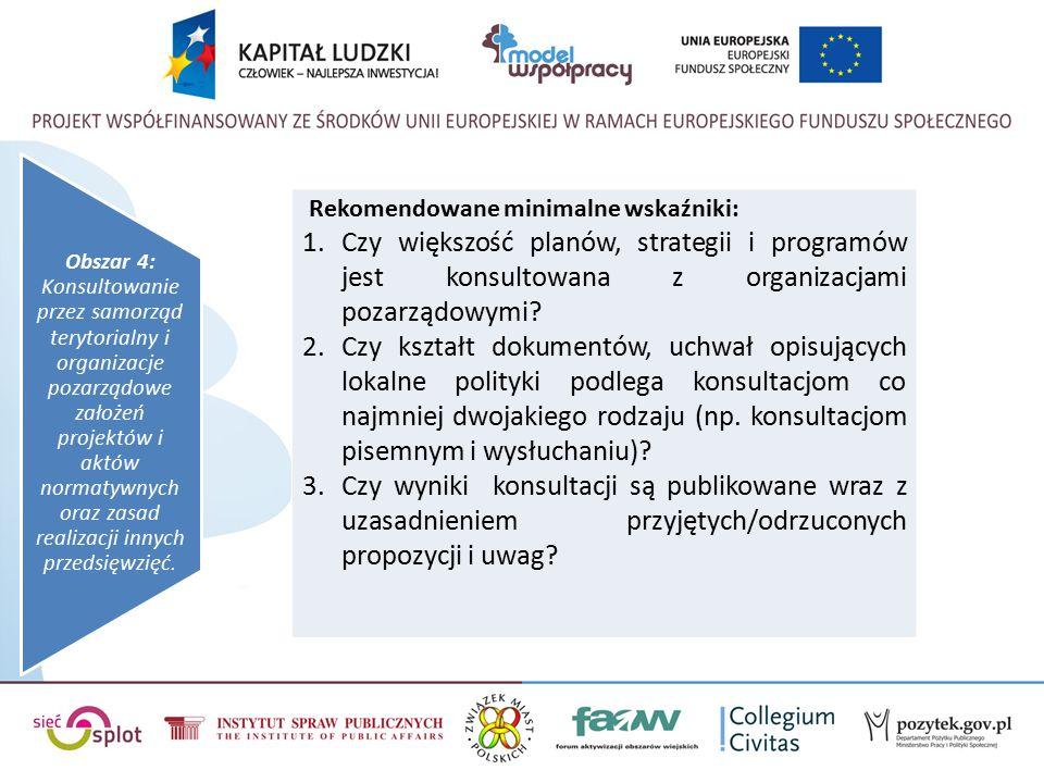 Obszar 4: Konsultowanie przez samorząd terytorialny i organizacje pozarządowe założeń projektów i aktów normatywnych oraz zasad realizacji innych przedsięwzięć.