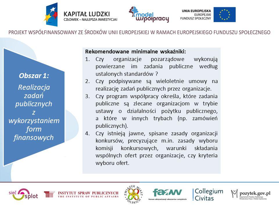 Obszar 1: Realizacja zadań publicznych z wykorzystaniem form finansowych Rekomendowane minimalne wskaźniki: 1.Czy organizacje pozarządowe wykonują powierzane im zadania publiczne według ustalonych standardów .