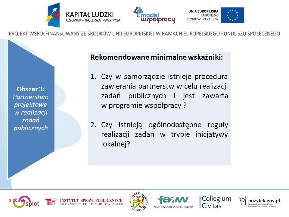 Rekomendowane minimalne wskaźniki: 1.Czy w samorządzie istnieje procedura zawierania partnerstw w celu realizacji zadań publicznych i jest zawarta w programie współpracy .