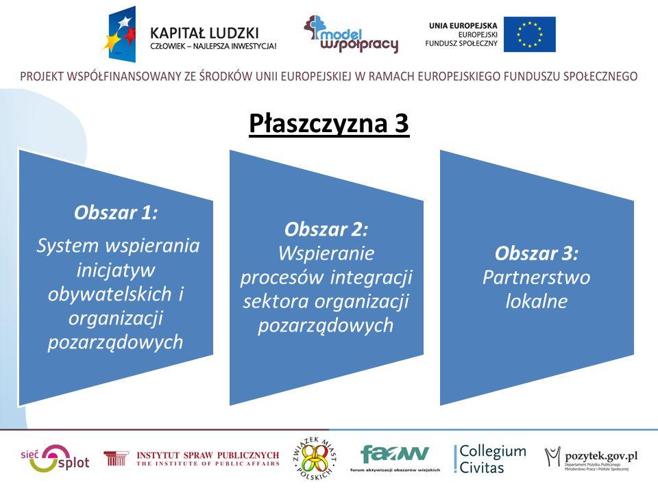 Płaszczyzna 3 Obszar 1: System wspierania inicjatyw obywatelskich i organizacji pozarządowych Obszar 2: Wspieranie procesów integracji sektora organizacji pozarządowych Obszar 3: Partnerstwo lokalne