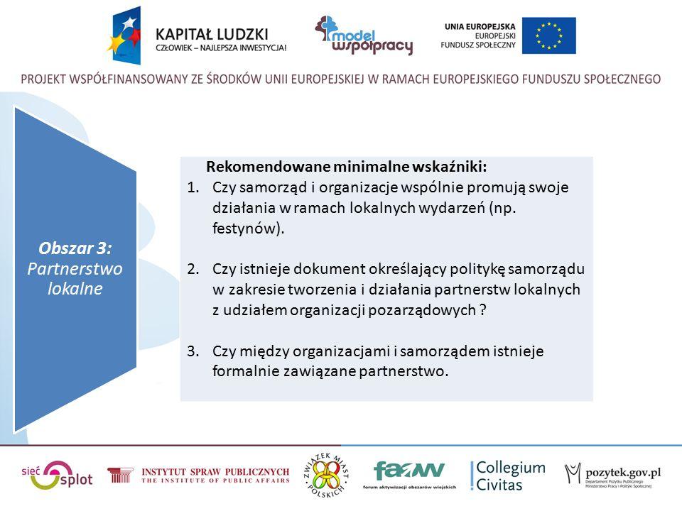 Rekomendowane minimalne wskaźniki: 1.Czy samorząd i organizacje wspólnie promują swoje działania w ramach lokalnych wydarzeń (np.