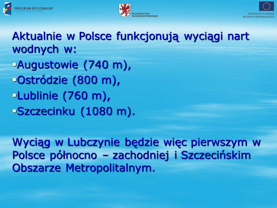 Aktualnie w Polsce funkcjonują wyciągi nart wodnych w:  Augustowie (740 m),  Ostródzie (800 m),  Lublinie (760 m),  Szczecinku (1080 m).