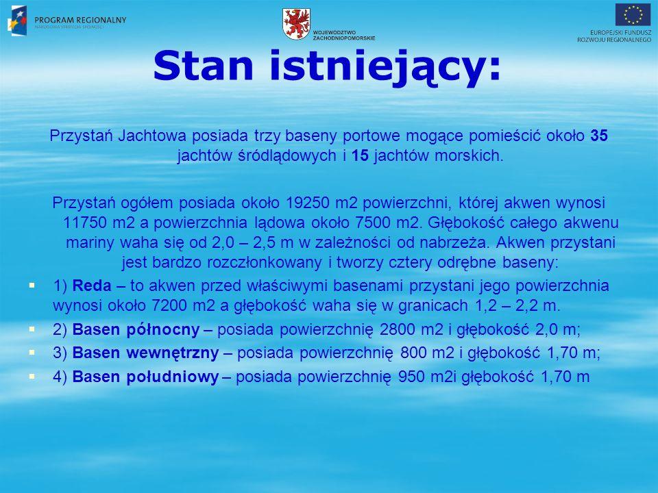 Stan istniejący: Przystań Jachtowa posiada trzy baseny portowe mogące pomieścić około 35 jachtów śródlądowych i 15 jachtów morskich.
