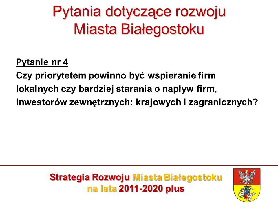 Pytania dotyczące rozwoju Miasta Białegostoku Pytanie nr 4 Czy priorytetem powinno być wspieranie firm lokalnych czy bardziej starania o napływ firm, inwestorów zewnętrznych: krajowych i zagranicznych.