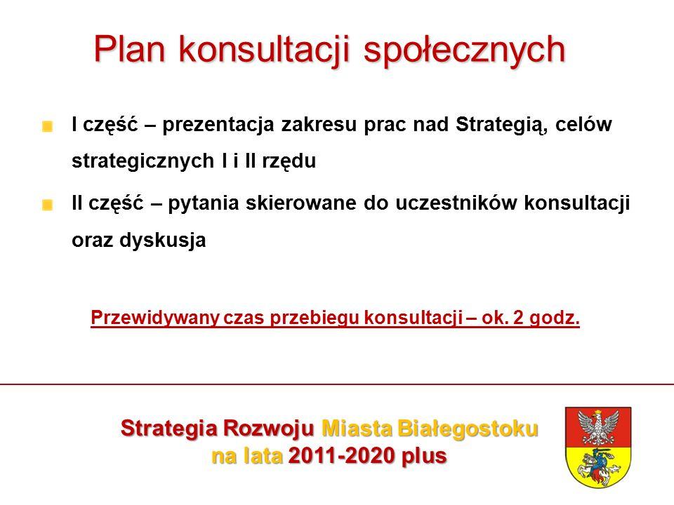 Plan konsultacji społecznych I część – prezentacja zakresu prac nad Strategią, celów strategicznych I i II rzędu II część – pytania skierowane do uczestników konsultacji oraz dyskusja Przewidywany czas przebiegu konsultacji – ok.