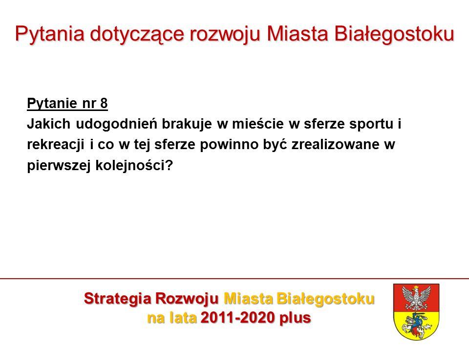 Pytania dotyczące rozwoju Miasta Białegostoku Pytanie nr 8 Jakich udogodnień brakuje w mieście w sferze sportu i rekreacji i co w tej sferze powinno być zrealizowane w pierwszej kolejności.