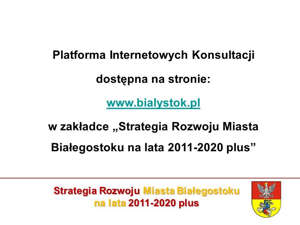 """Strategia Rozwoju Miasta Białegostoku na lata 2011-2020 plus Platforma Internetowych Konsultacji dostępna na stronie: www.bialystok.pl w zakładce """"Strategia Rozwoju Miasta Białegostoku na lata 2011-2020 plus"""