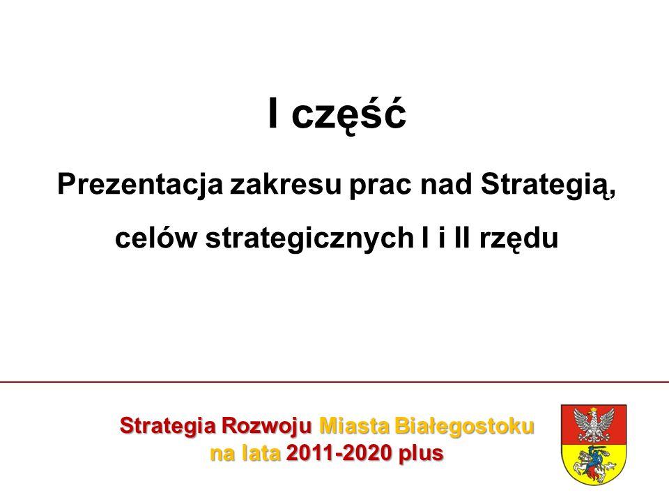 Strategia Rozwoju Miasta Białegostoku na lata 2011-2020 plus Strategia Strategia jest długofalowym scenariuszem rozwoju miasta, określającym: docelową wizję rozwoju, misję miasta, strategiczne cele i kierunki rozwoju społeczno – gospodarczego, zadania strategiczne oraz sposób ich realizacji, który służyć będzie zaspokojeniu potrzeb mieszkańców.