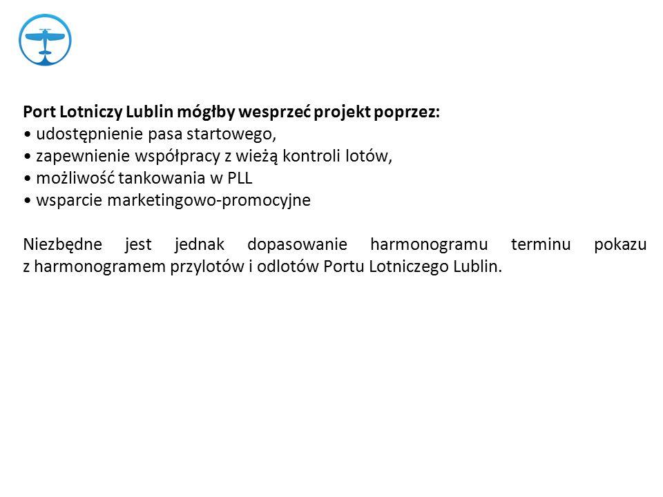 Port Lotniczy Lublin mógłby wesprzeć projekt poprzez: udostępnienie pasa startowego, zapewnienie współpracy z wieżą kontroli lotów, możliwość tankowania w PLL wsparcie marketingowo-promocyjne Niezbędne jest jednak dopasowanie harmonogramu terminu pokazu z harmonogramem przylotów i odlotów Portu Lotniczego Lublin.