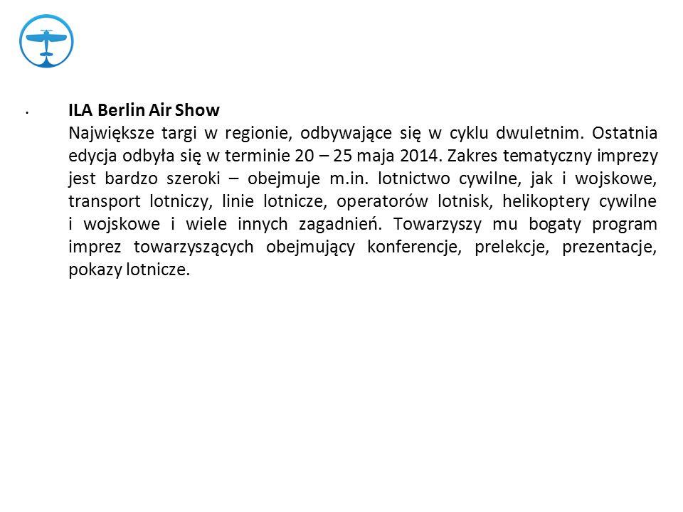ILA Berlin Air Show Największe targi w regionie, odbywające się w cyklu dwuletnim.