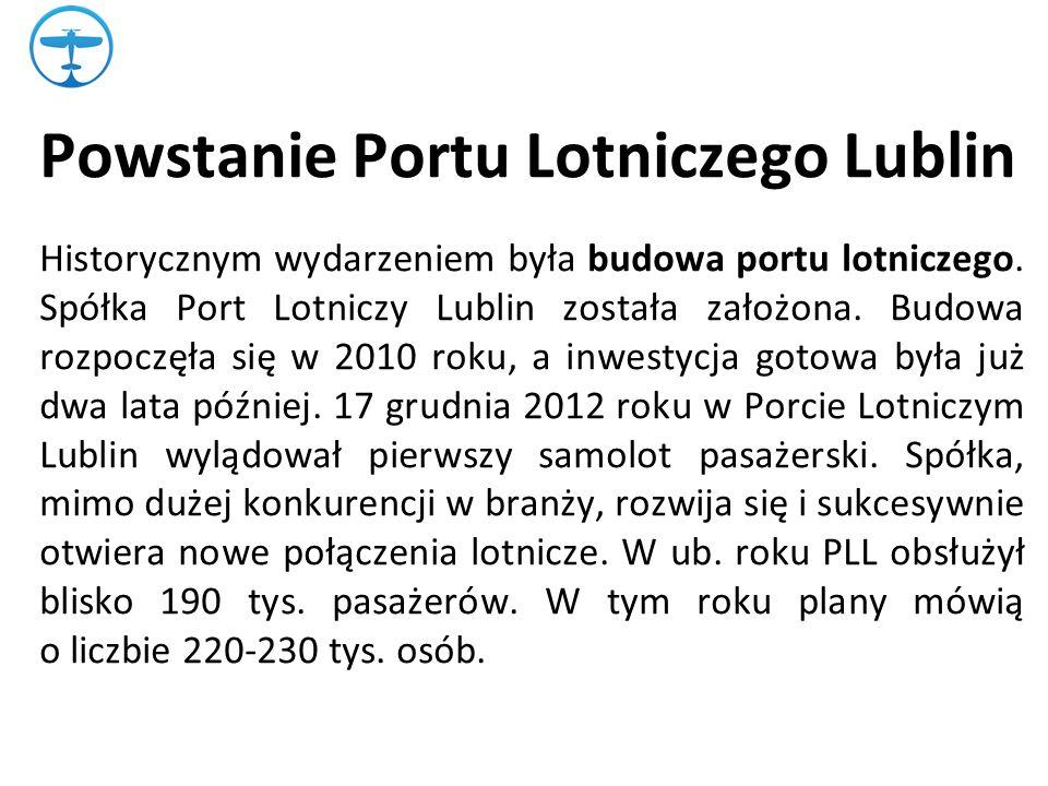 Powstanie Portu Lotniczego Lublin Historycznym wydarzeniem była budowa portu lotniczego.