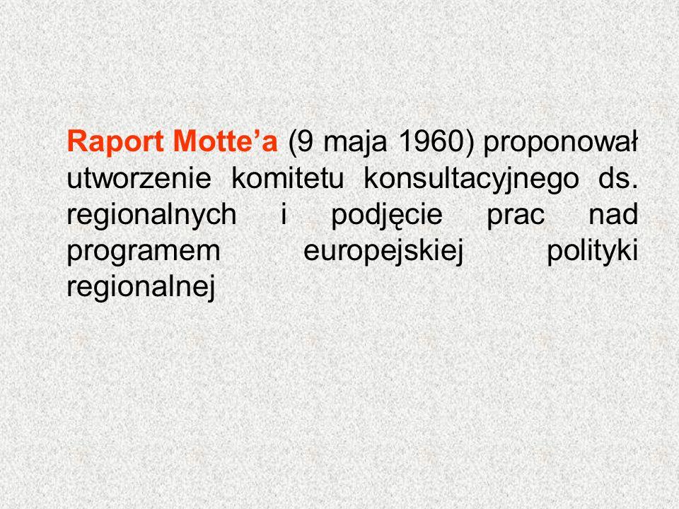 Raport Motte'a (9 maja 1960) proponował utworzenie komitetu konsultacyjnego ds. regionalnych i podjęcie prac nad programem europejskiej polityki regio