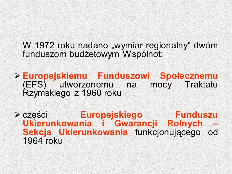 """W 1972 roku nadano """"wymiar regionalny"""" dwóm funduszom budżetowym Wspólnot:  Europejskiemu Funduszowi Społecznemu (EFS) utworzonemu na mocy Traktatu R"""