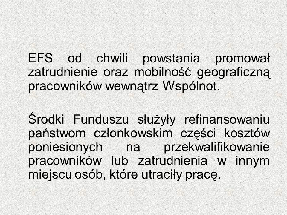 EFS od chwili powstania promował zatrudnienie oraz mobilność geograficzną pracowników wewnątrz Wspólnot. Środki Funduszu służyły refinansowaniu państw