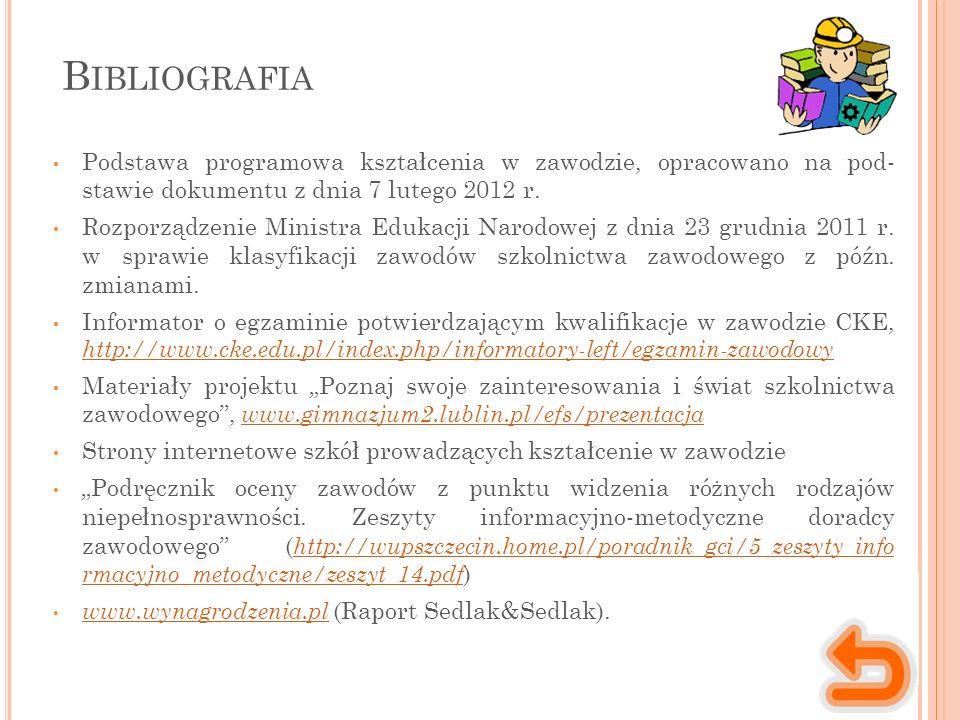 B IBLIOGRAFIA Podstawa programowa kształcenia w zawodzie, opracowano na pod- stawie dokumentu z dnia 7 lutego 2012 r.