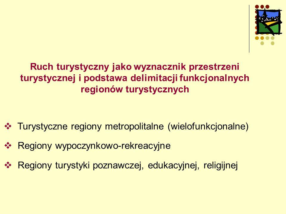Ruch turystyczny jako wyznacznik przestrzeni turystycznej i podstawa delimitacji funkcjonalnych regionów turystycznych  Turystyczne regiony metropolitalne (wielofunkcjonalne)  Regiony wypoczynkowo-rekreacyjne  Regiony turystyki poznawczej, edukacyjnej, religijnej