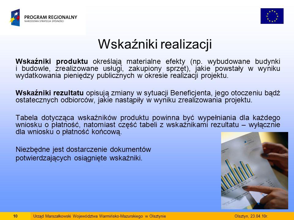 Wskaźniki realizacji Wskaźniki produktu określają materialne efekty (np.