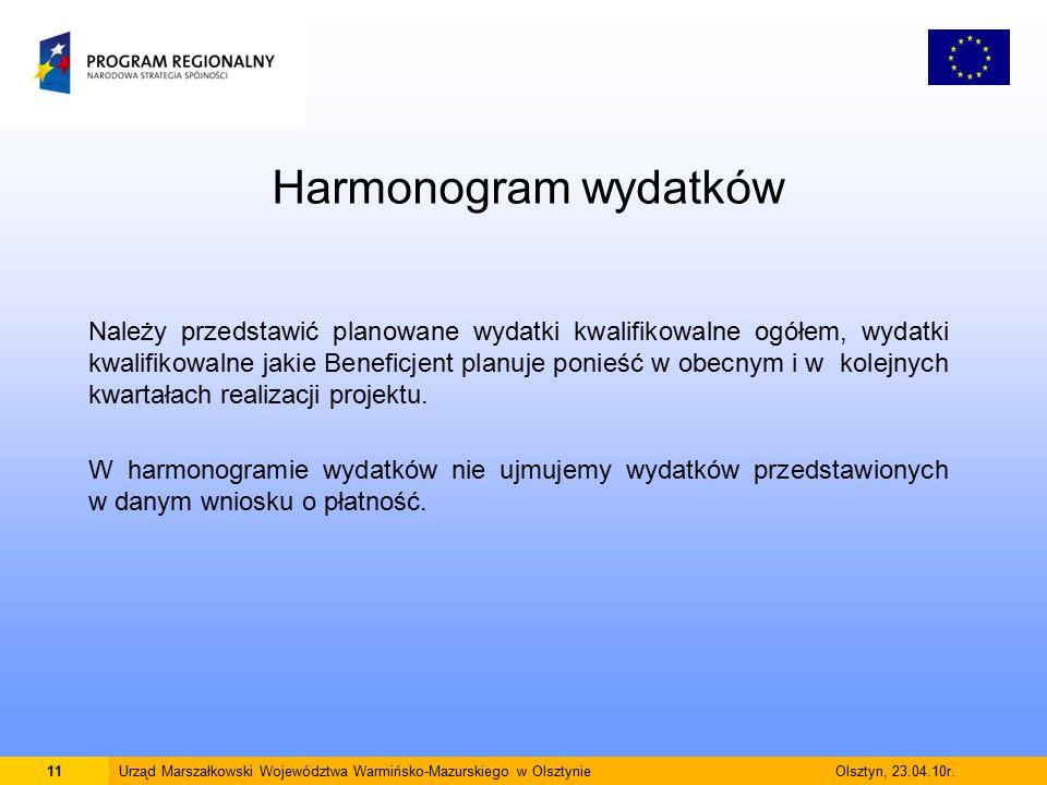Harmonogram wydatków Należy przedstawić planowane wydatki kwalifikowalne ogółem, wydatki kwalifikowalne jakie Beneficjent planuje ponieść w obecnym i w kolejnych kwartałach realizacji projektu.