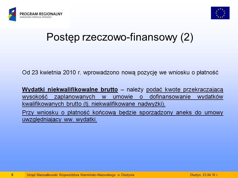 Postęp rzeczowo-finansowy (2) Od 23 kwietnia 2010 r.