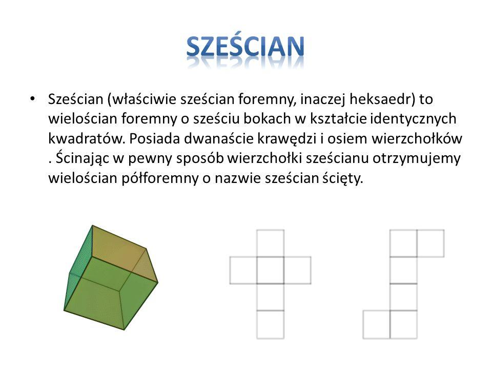 Sześcian (właściwie sześcian foremny, inaczej heksaedr) to wielościan foremny o sześciu bokach w kształcie identycznych kwadratów. Posiada dwanaście k