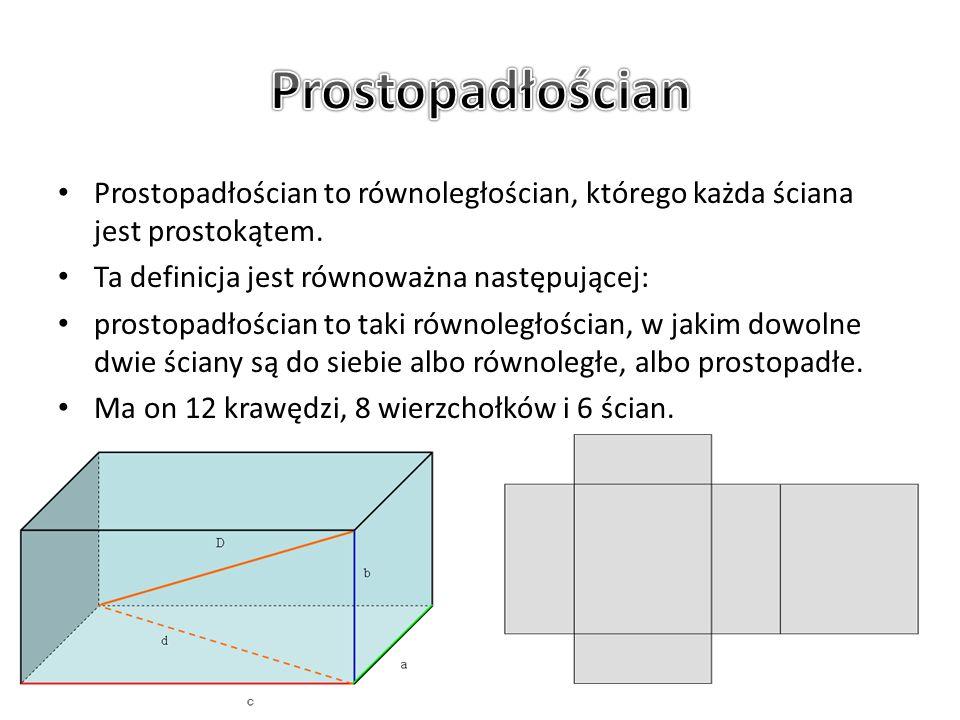 Prostopadłościan to równoległościan, którego każda ściana jest prostokątem. Ta definicja jest równoważna następującej: prostopadłościan to taki równol