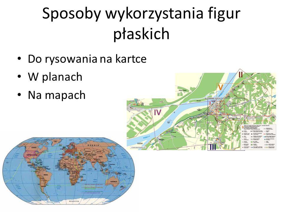 Sposoby wykorzystania figur płaskich Do rysowania na kartce W planach Na mapach