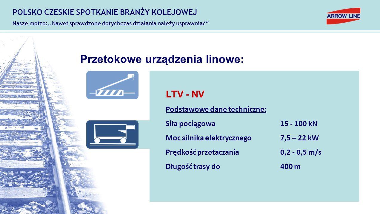 Przetokowe urządzenia linowe: LTV - NV Podstawowe dane techniczne: Siła pociągowa15 - 100 kN Moc silnika elektrycznego7,5 – 22 kW Prędkość przetaczani