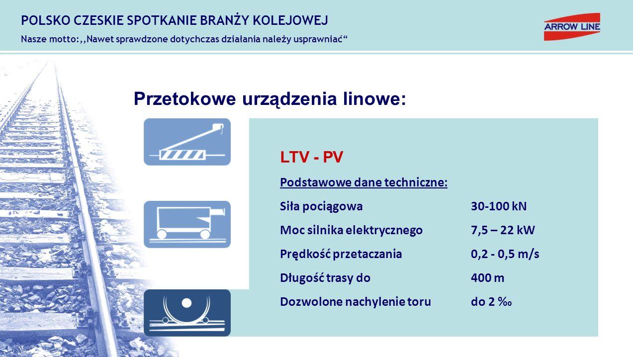 Przetokowe urządzenia linowe: LTV - PV Podstawowe dane techniczne: Siła pociągowa30-100 kN Moc silnika elektrycznego7,5 – 22 kW Prędkość przetaczania0