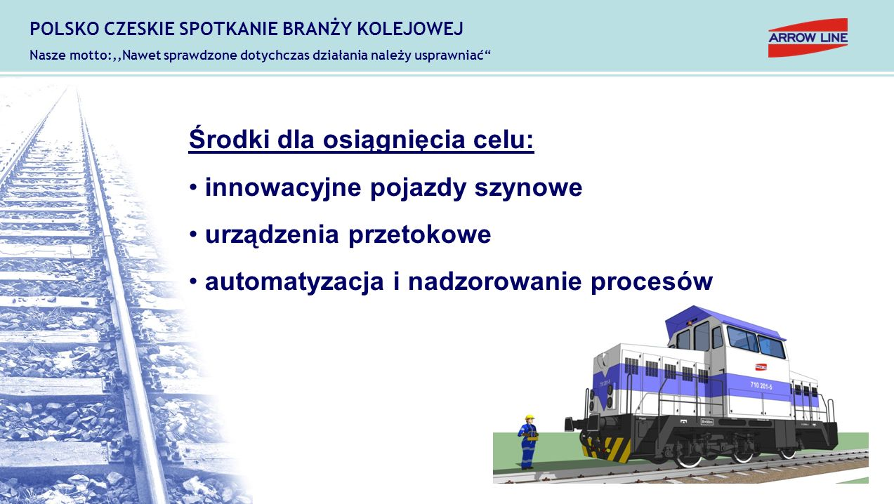 Założenia: stosowanie pojazdów pomocniczych (moc do 300 HP) obsługa za pośrednictwem operatora (manewrowy) sterowanie ruchem kolejowym (automatyzacja infrastruktury) eliminacja człowieka ze stref zagrożenia POLSKO CZESKIE SPOTKANIE BRANŻY KOLEJOWEJ Nasze motto:,,Nawet sprawdzone dotychczas działania należy usprawniać
